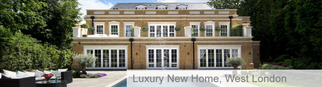Luxury home in West London with outdoor swimming pool and patio seating area