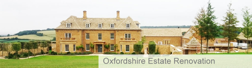 Oxfordshire country estate from a distance and surrounded by land and trees